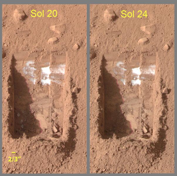 Phoenix lander wheels uncover ice