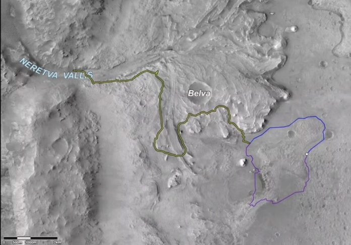 Possible Perseverance paths in Jezero Crater