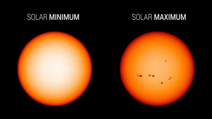 Sunspots at solar minimum vs. maximum