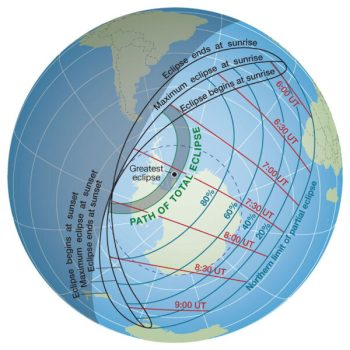 Total solar eclipse path on Dec 4, 2021