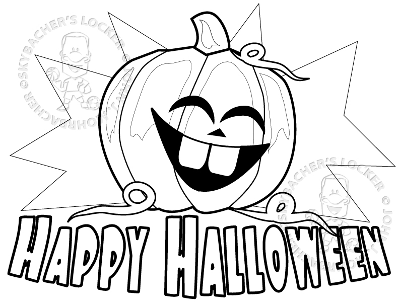 Free Happy Halloween Coloring Page Skybachers Locker