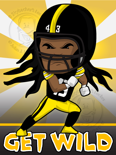 polamalu cartoon, steelers clipart, steelersnation,