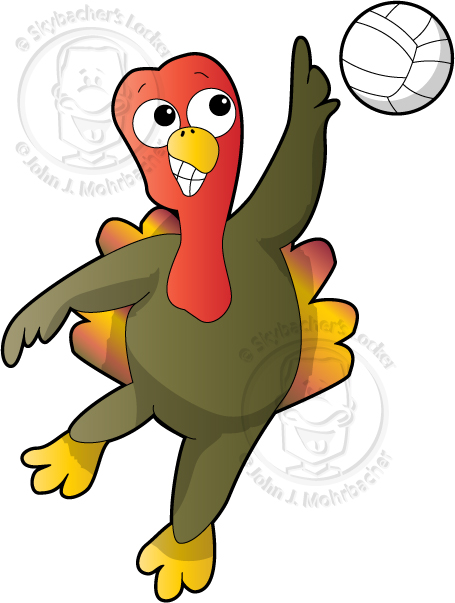 cartoon turkey, turkey clipart, sports turkey, turkey volleyball