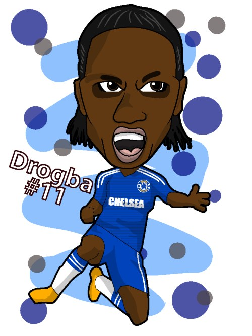 drogba cartoon, chelsea clipart, drogba legend
