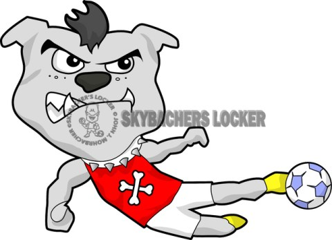 Soccer Bulldog Mascot w/ Mohawk - Skybacher's Locker