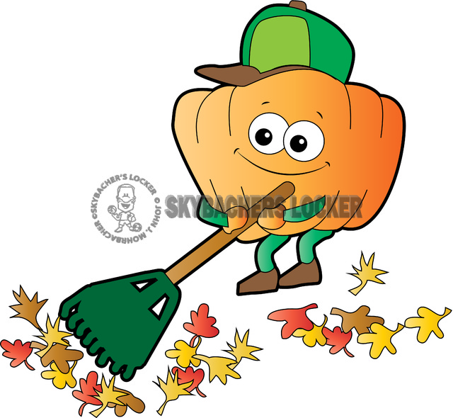 Pumpkin Raking Leaves - Skybacher's Locker