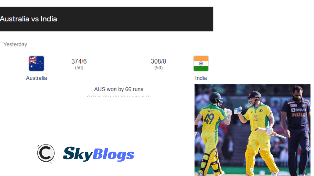 INDIA VS AUSTRALIA 1ST ODI HIGHLIGHTS - AUSTRALIA THRASHED INDIA BY 66 RUNS