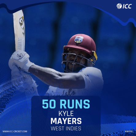 Kyle Mayers Made 50 Runs in WI VS SL 2021 1ST TEST