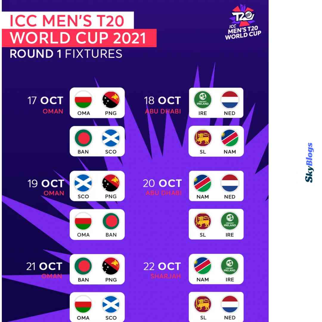 T20 World Cup 2021 Fixture