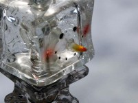 Ice night light on lead candle holder