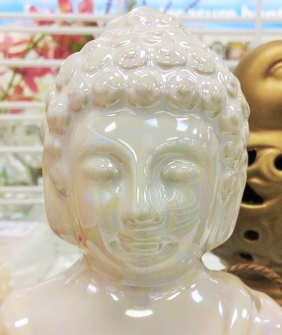 shiny white head