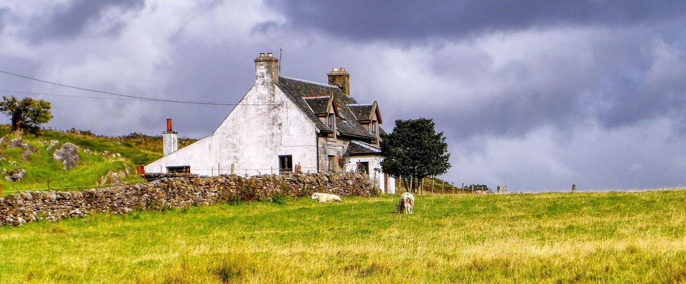 Cottage in field, Scotland