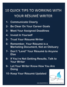 10 Tips for working with a Resume Writer