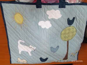 Applique quilted bag with kitty and other animals