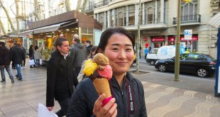Barcelona Tourist Loving Ice Cream