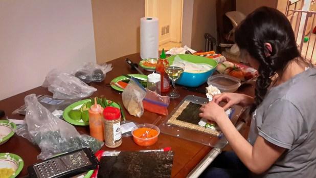 Homemade Sushi Preparation