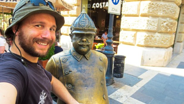 Selfie with Fat Man Sculpture