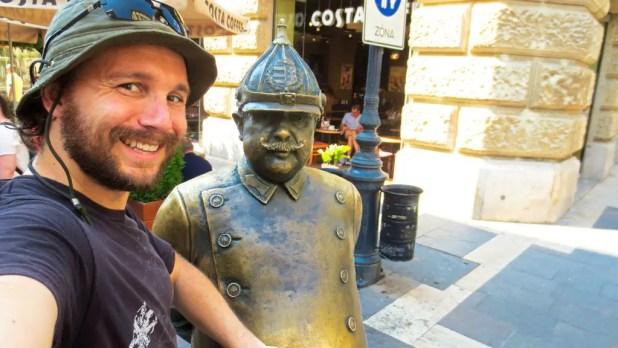 Selfie with Fat Man Sculpture