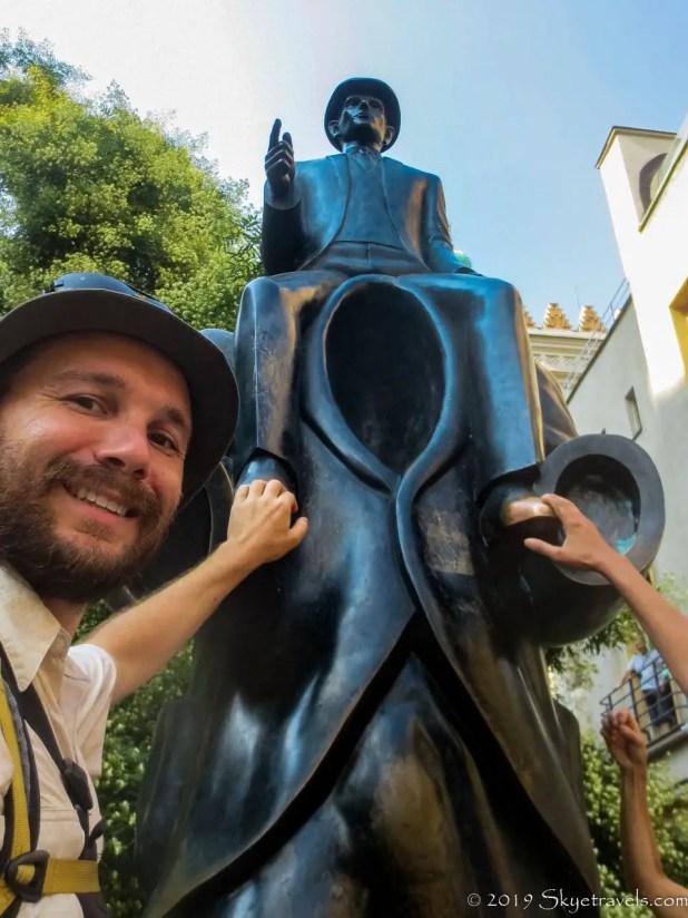 Selfie at Franz Kafka Sculpture