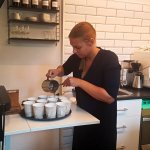 Pouring Hot Chocolate at Chokladfabriken