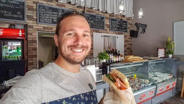 Selfie with Sandwich at Gorbushka gastrobar in Odessa