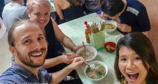 Selfie Eating Pho on Street Food Tour in Hanoi