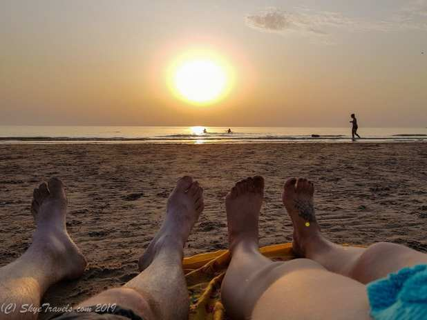 Shoeless Selfie at Sunset on the Shore