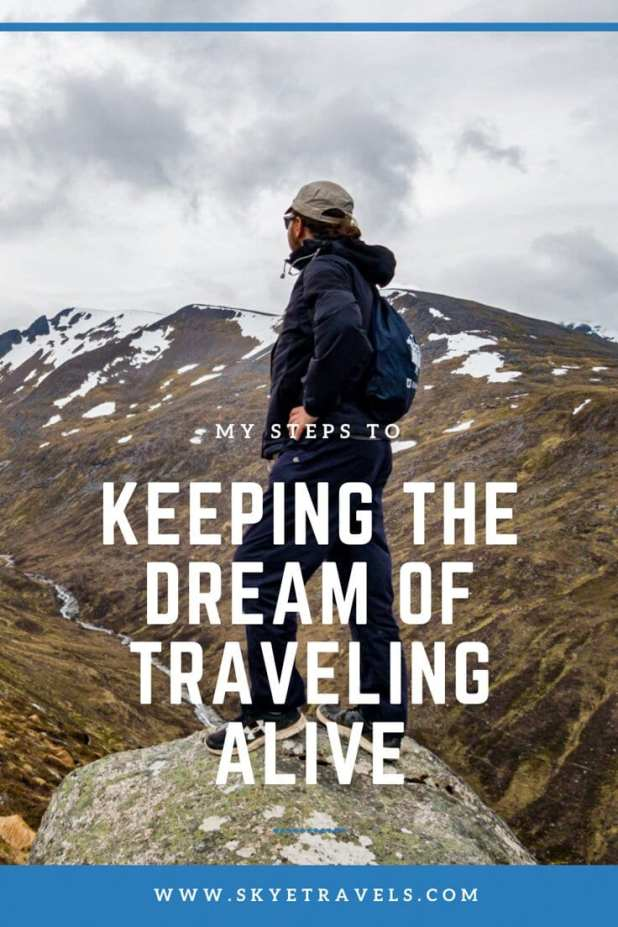Keeping the Dream of Traveling Alive Pin