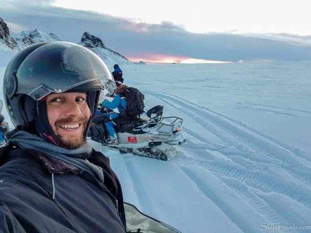 Selfie Snowmobiling on Langjokull Glacier