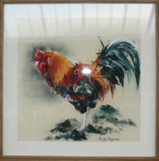 Rooster in pastels, by Nicky Dagnall, at Skyeworks Gallery in Scotland