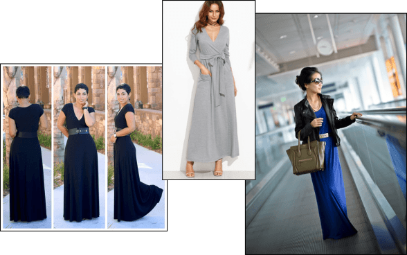 Business Class Style - the maxi dress. 3 images show a lady in a black maxi dress, a grey, long sleeve maxi dress and a blue maxi dress with black leather jacket.