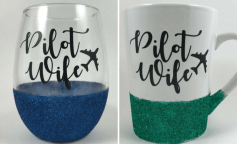 Pilot Wife wine glass and coffee cup