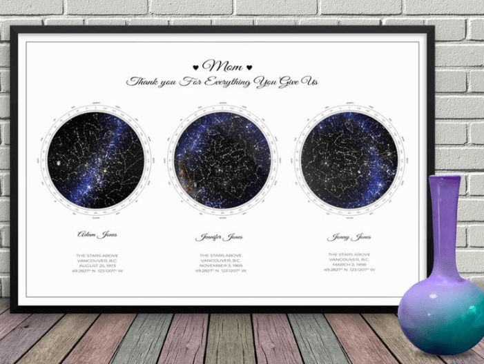 Custom Star Map Mothers Day Gift Idea