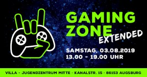 Augsburg: Gaming Zone EXTENDED @ Jugendzentrum Villa (03.08.2019) @ Jugendzentrum villa - Stadtjugendring Augsburg | Augsburg | Bayern | Deutschland