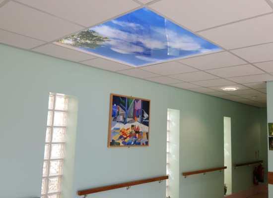 Fake skylight in hospital