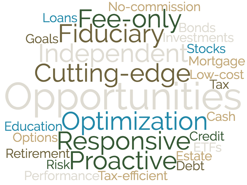Opportunities Cutting-edge Optimization Independent Responsive Fiduciary Proactive Fee-only Tax-efficient No-commission Investments Performance Retirement Education Low-cost Mortgage Options Credit Stocks Estate Loans Goals Bonds Risk Cash Debt ETFs Tax