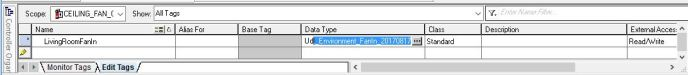 Creating a new tag in RSLogix 5000 by typing in the tag name and data type.