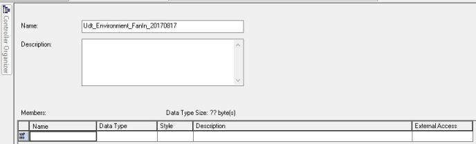 The UDT name Udt_Environment_FanIn_20170817 shown in the Name line on the New Type... window in RSLogix 5000. This image is being used to describe the process of creating User-Defined Data Types in RSLogix 5000.