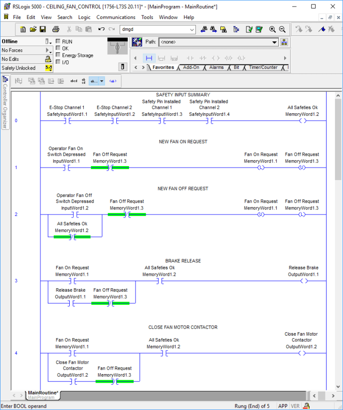 An example of ladder logic shown in RSLogix 5000, PLC programming software for Rockwell Automation PLC's.