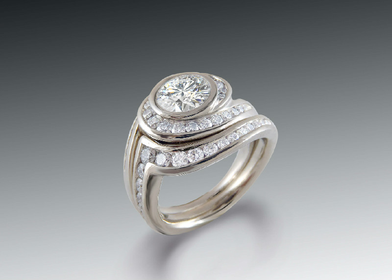 Custom Engagement Three Stone Diamond Ring
