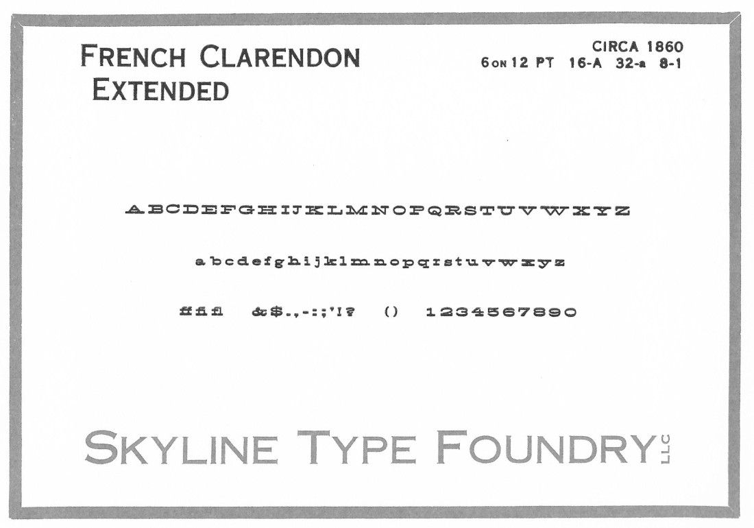 French Clarendon Extended – 6 on 12pt