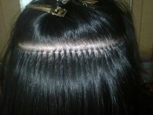 Keratin tip black hair extensions