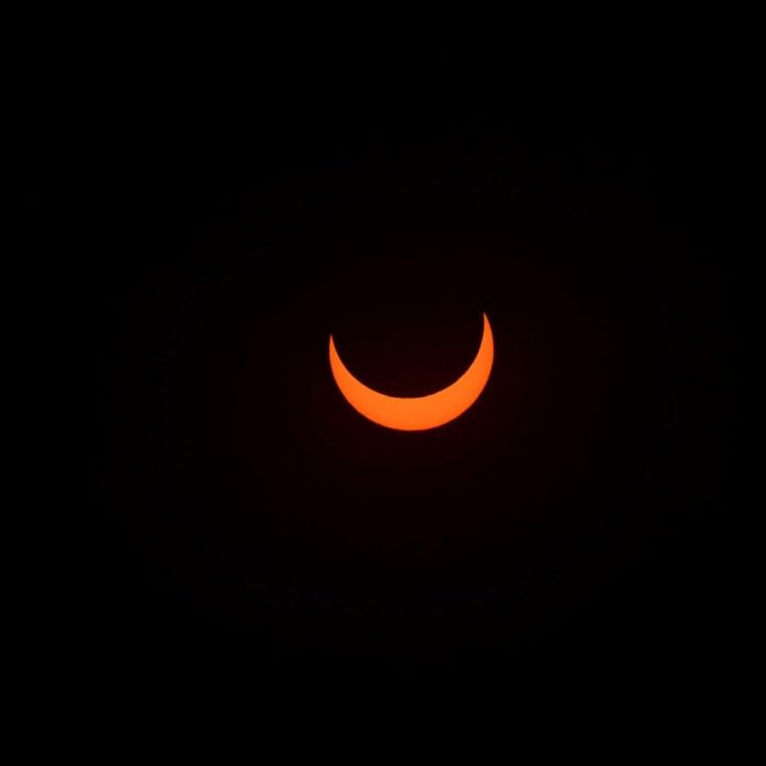 Shooting from Fredericton, New Brunswick, Jeff Beairsto captured this image of the annular eclipse. Beairsto captured the images using a Nikon D600 with a 200mm f/4 prime lens through a solar filter. | SkyNews