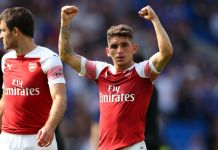 Arsenal star Lucas Torreira pictured in PSG kit