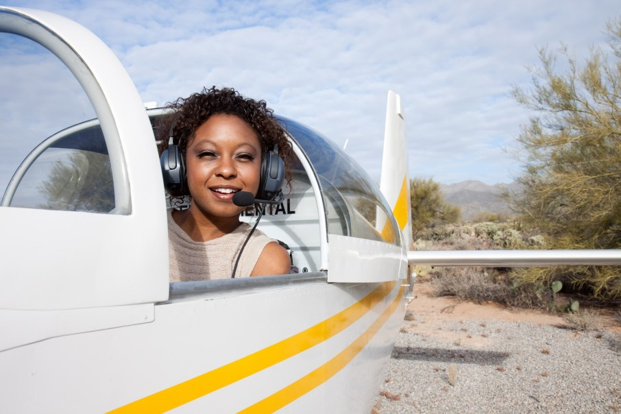 African American woman flying a single engine plane, Sky Review, AirTime Aviation Podcast