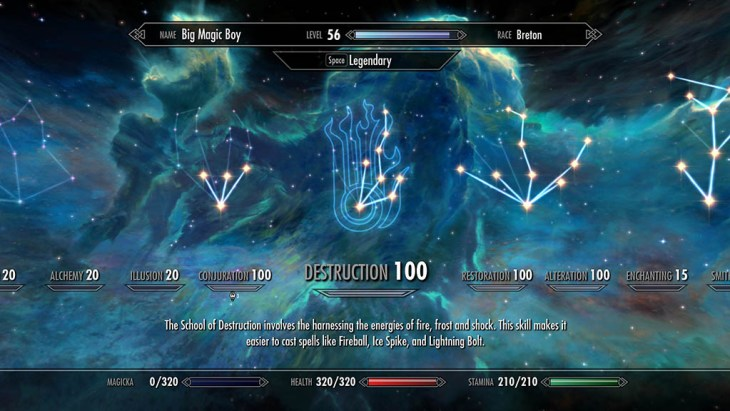 Skyrim Destruction skill tree with perks chosen for a battlemage build.