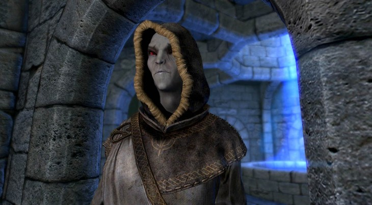 Dunmer Mage Brelyna Maryon standing in the Hall of Attainment in Skyrim