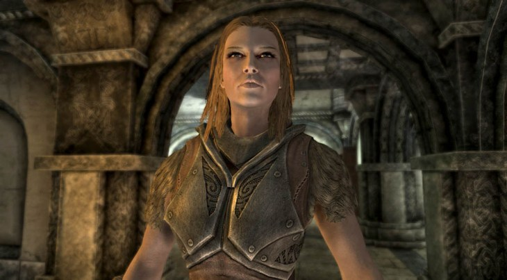 Housecarl Jordis the Sword-Maiden standing in Proudspire Manor in Solitude in Skyrim