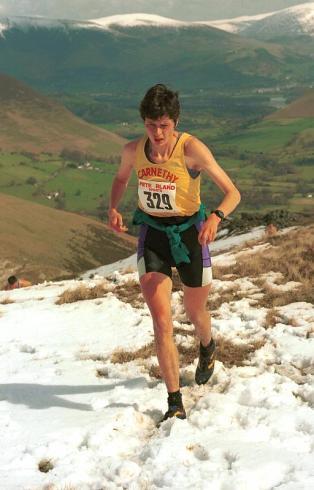 Angela Mudge (Carnethy) climbing Robinson - Anniversary Waltz 1999
