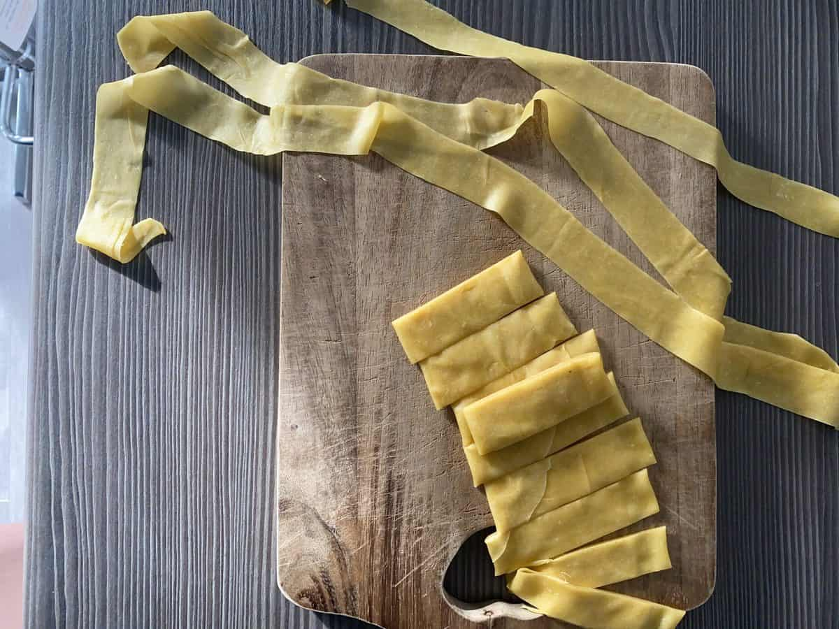 Pasta log cut and unravelled